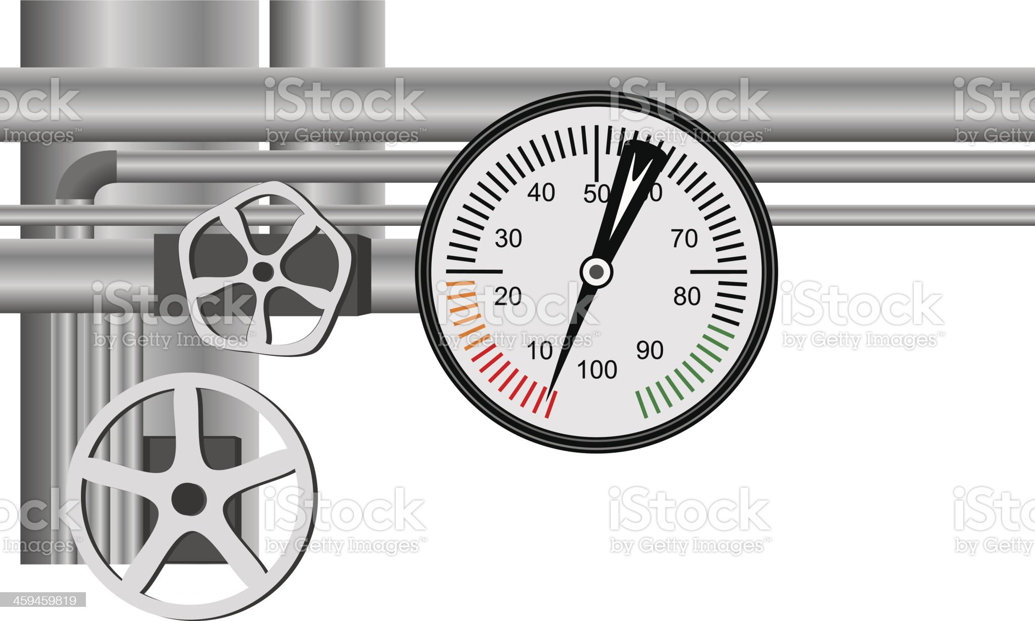 Gas pipe valve and pressure meter royalty-free stock vector art