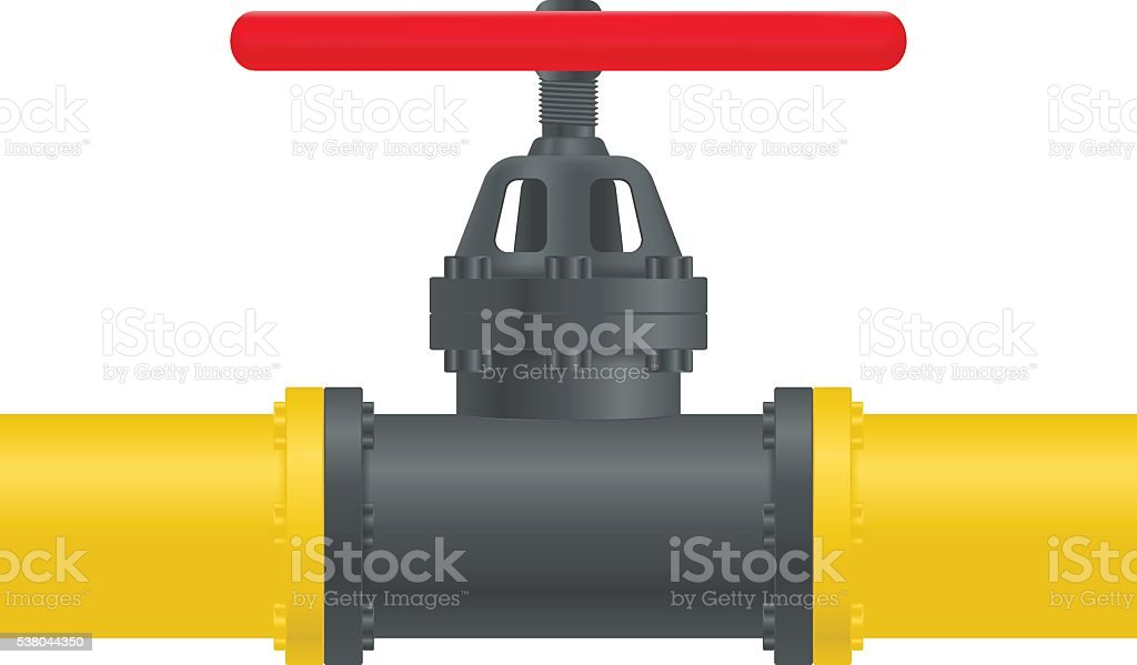 Gas pipe with red valve vector art illustration