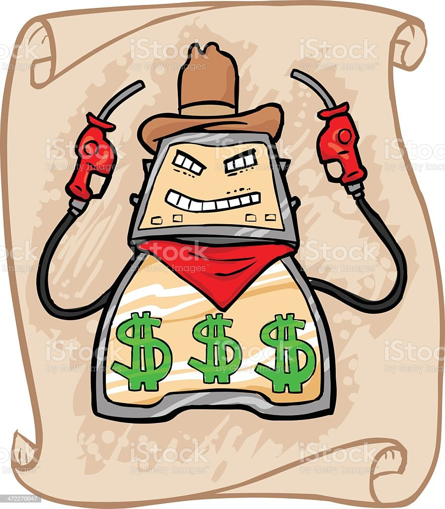 Gas Price Stick Up - Cowboy Version royalty-free stock vector art