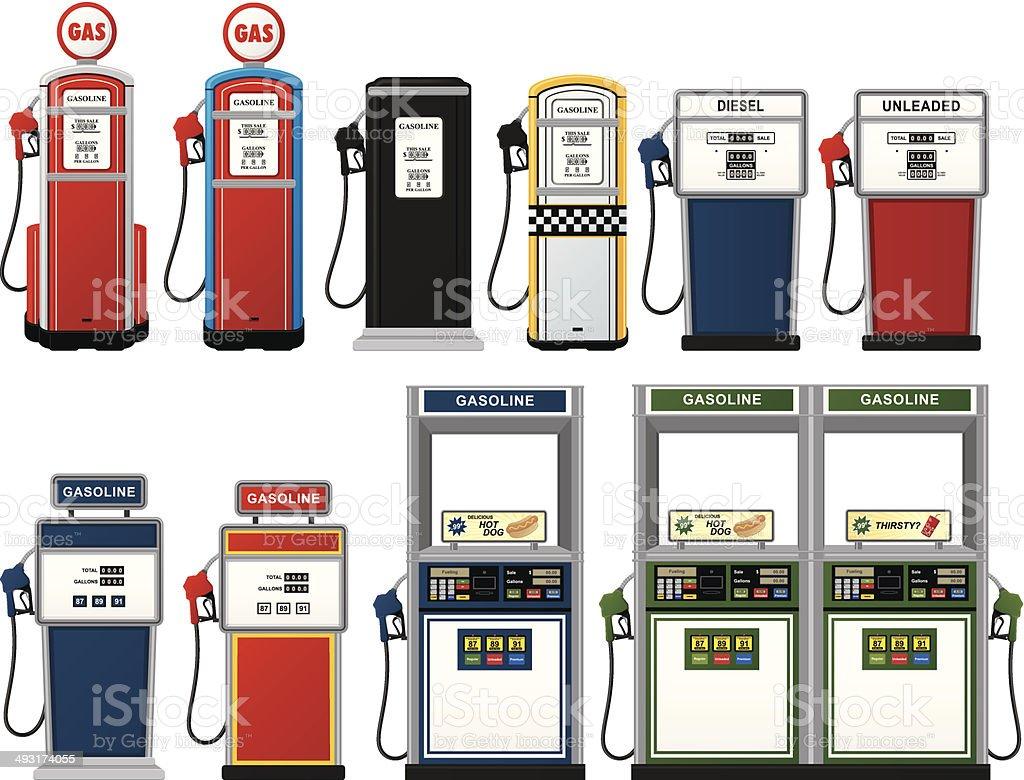 Gas Pump Collection vector art illustration