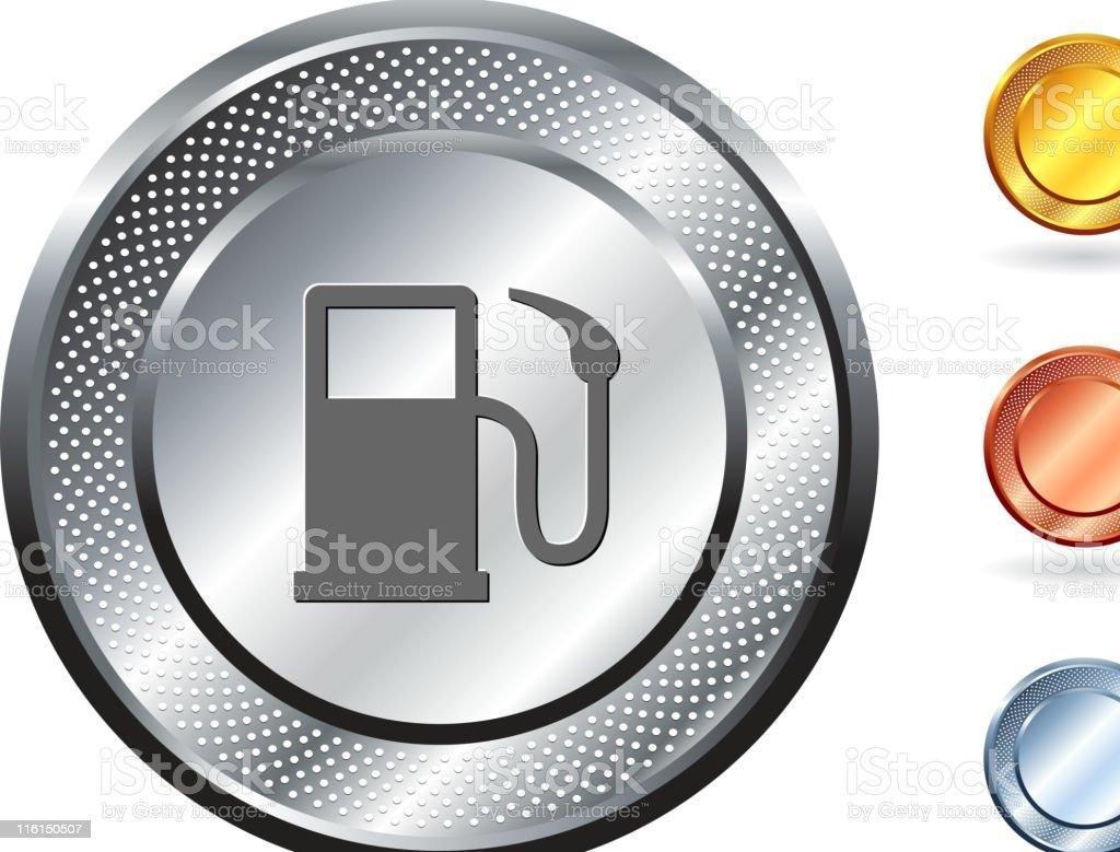 gas pump icon on button with metallic border royalty-free stock vector art