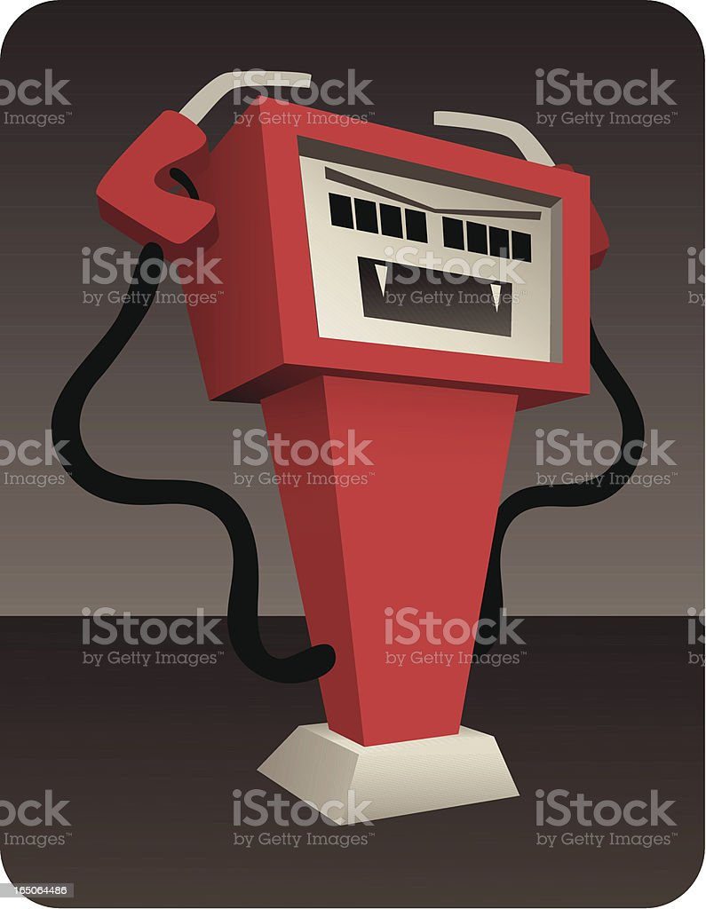 Gas Pump Monster: Out of Control Prices and MPG royalty-free stock vector art