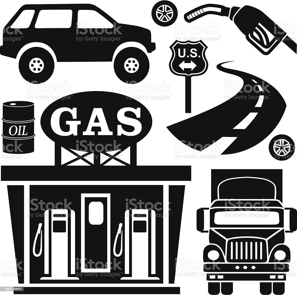 gas station down on road vector art illustration
