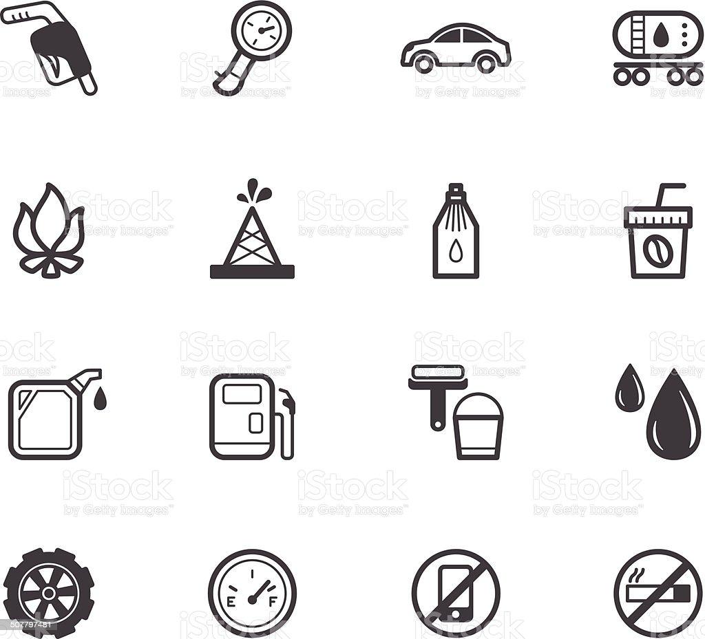 gas station element vecter black icon set on white background vector art illustration