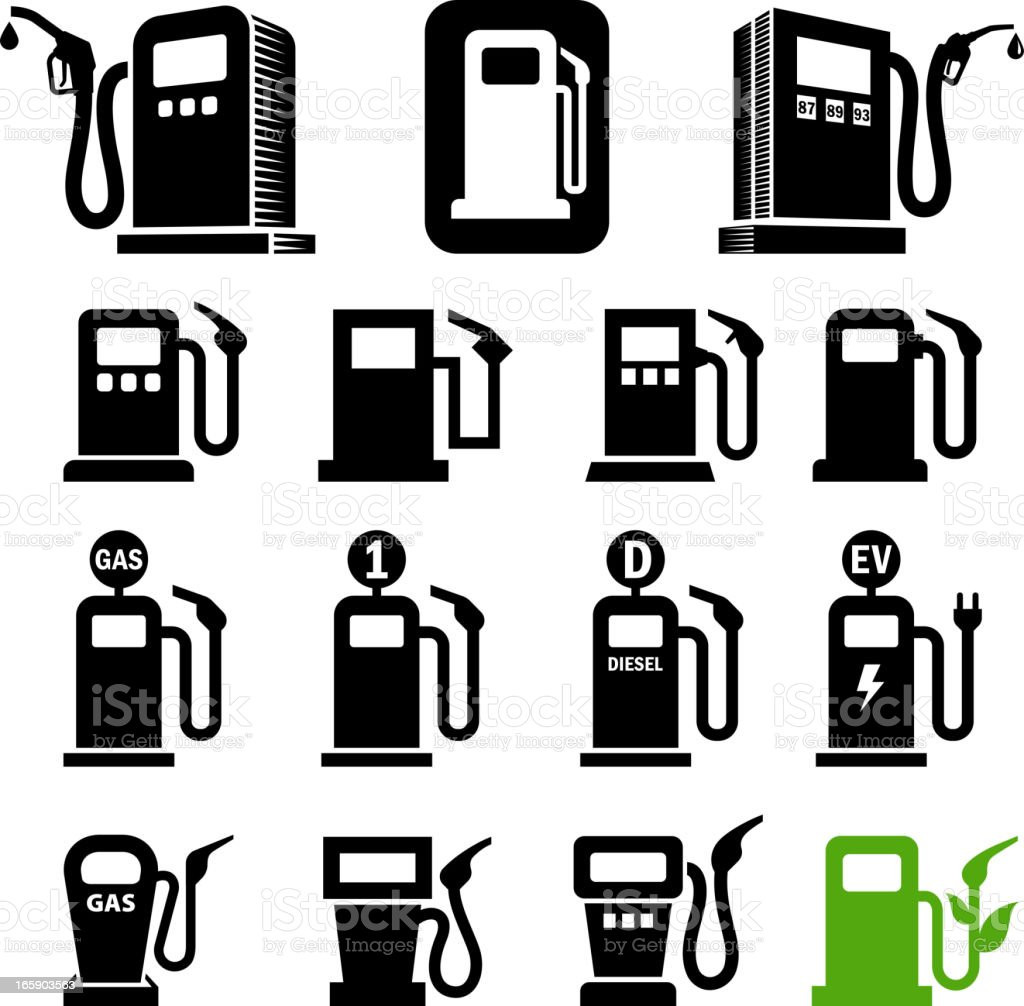 Gas station fuel pump black and white icon set vector art illustration
