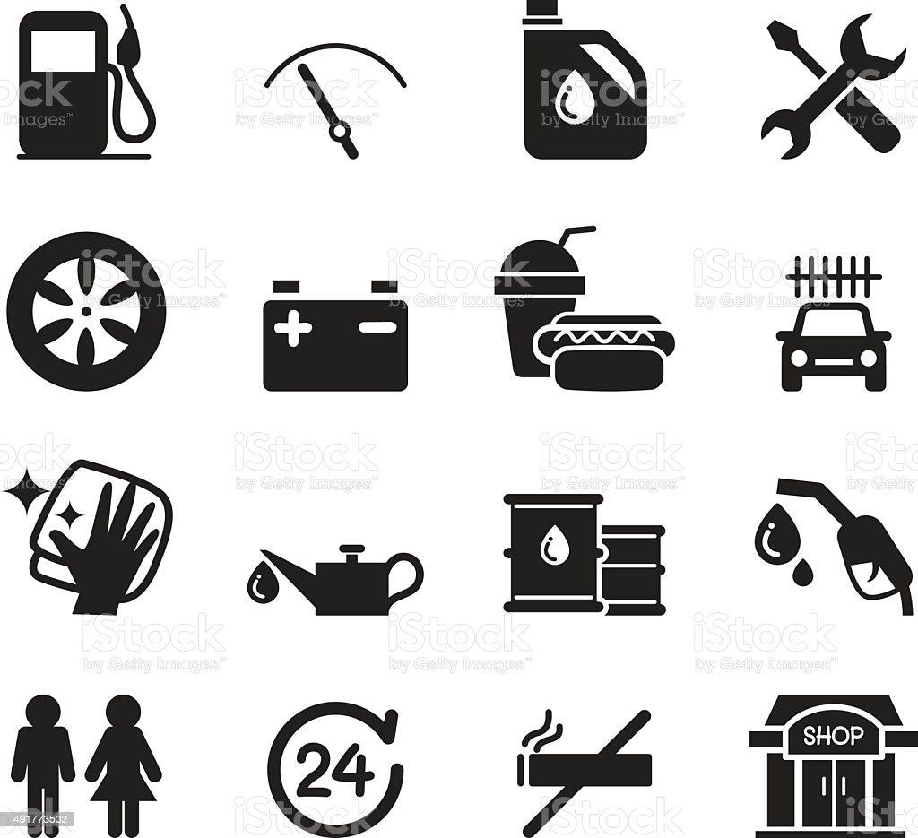 Gas station icon set vector art illustration