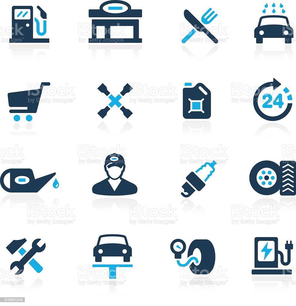 Gas Station Icons // Azure Series vector art illustration