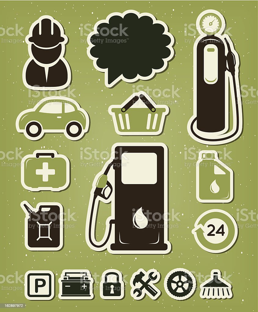 Gas station icons set royalty-free stock vector art