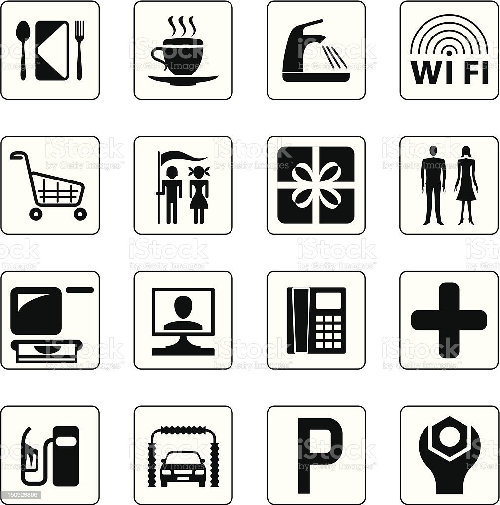 Gas station, mall and motel icons set royalty-free stock vector art