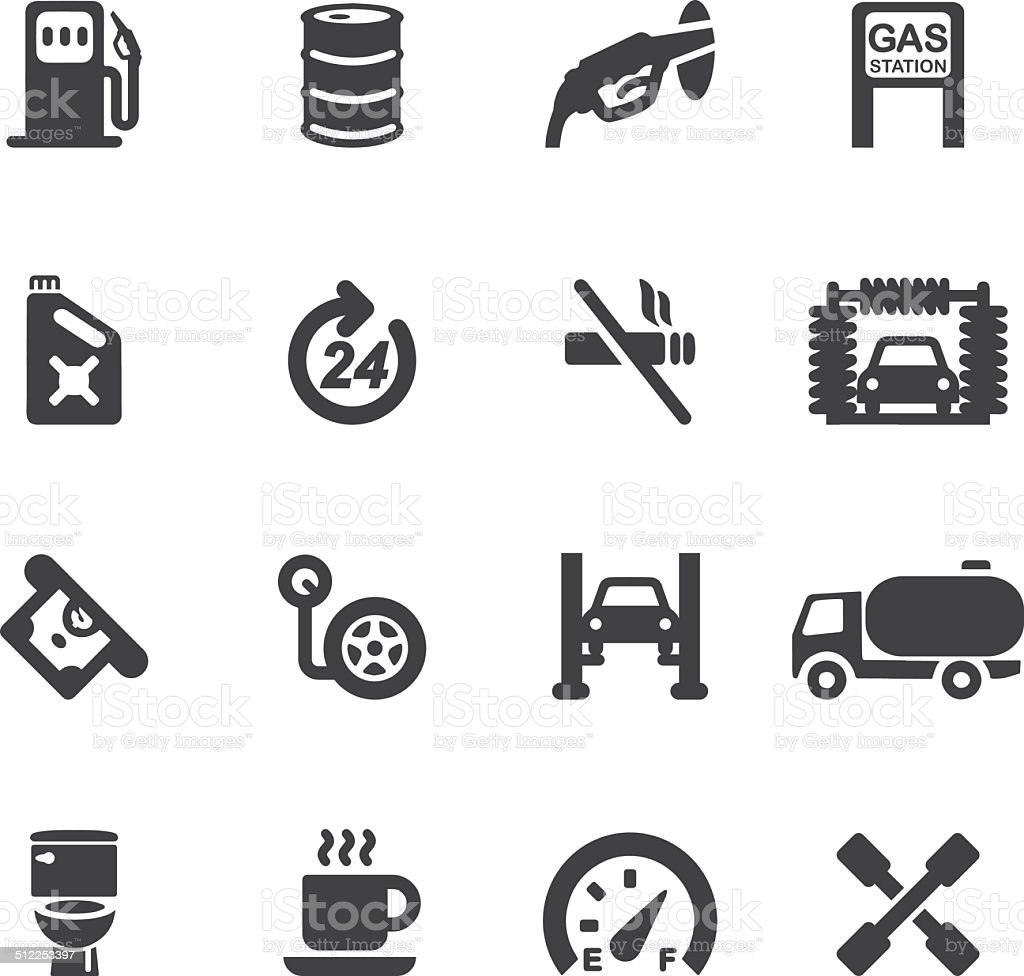 Gas Station Silhouette icons | EPS10 vector art illustration