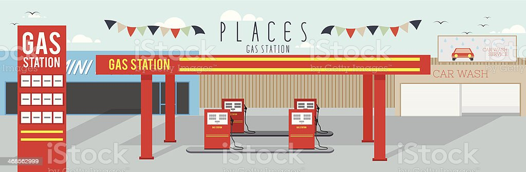 Gas Station (Places) vector art illustration