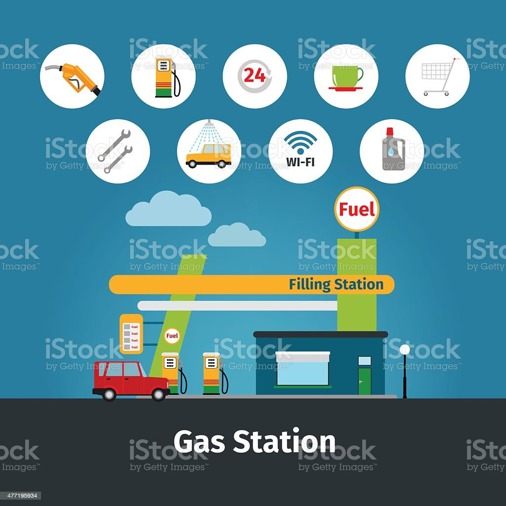 Gas station with flat icons vector art illustration