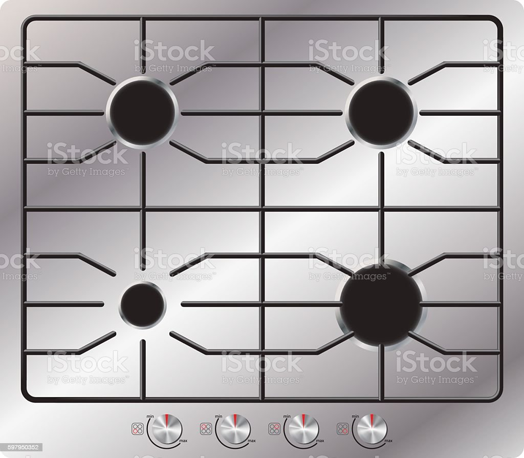 Gas stove with four burners. View from above. Isolated. vector art illustration