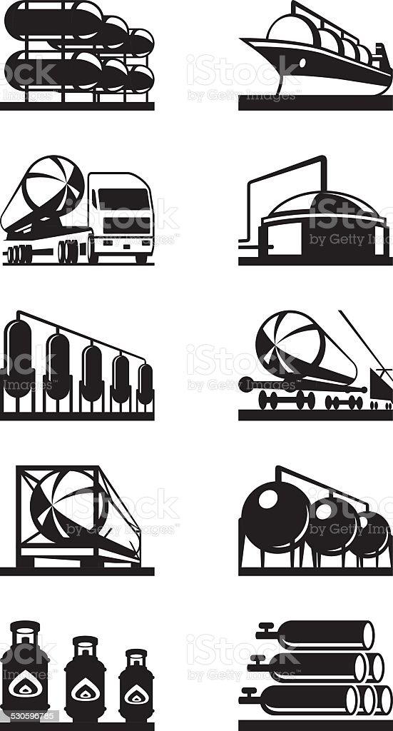 Gas tank terminals vector art illustration