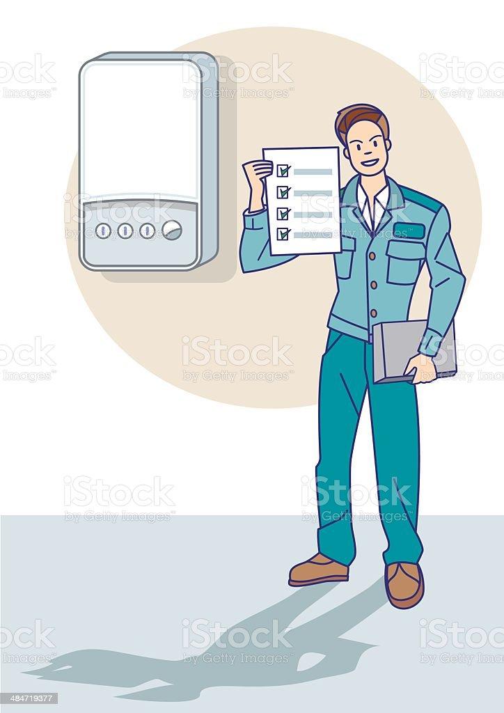Gas Technician Give a Certificate vector art illustration