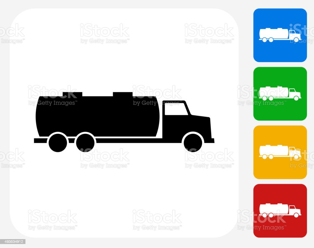 Gas Truck Icon Flat Graphic Design vector art illustration