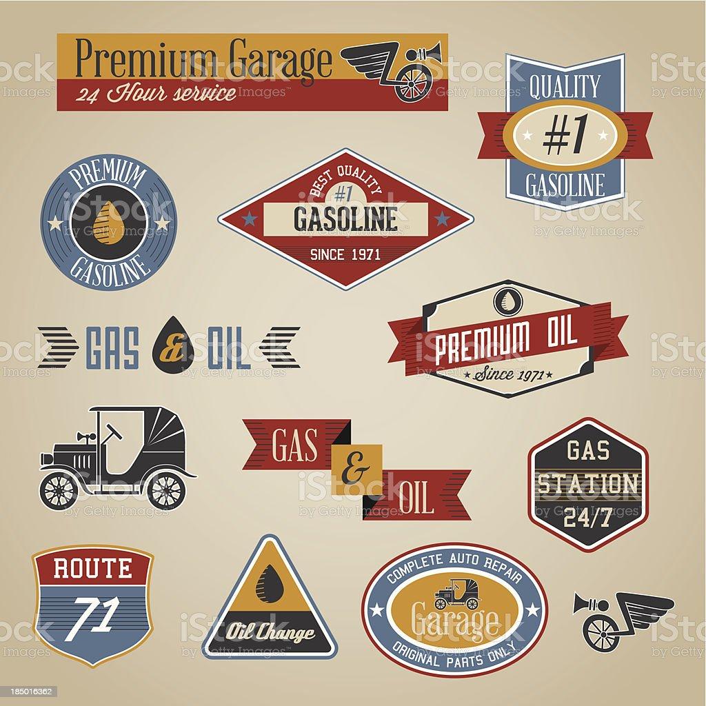Gasoline labels vector art illustration