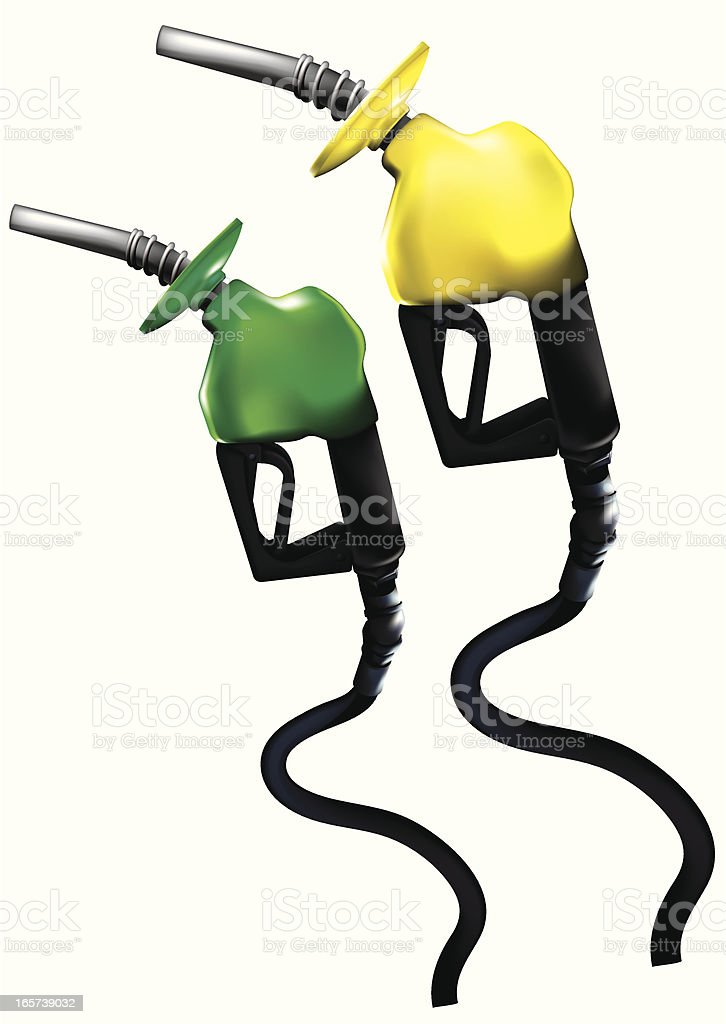 Gasoline nozzles Side royalty-free stock vector art
