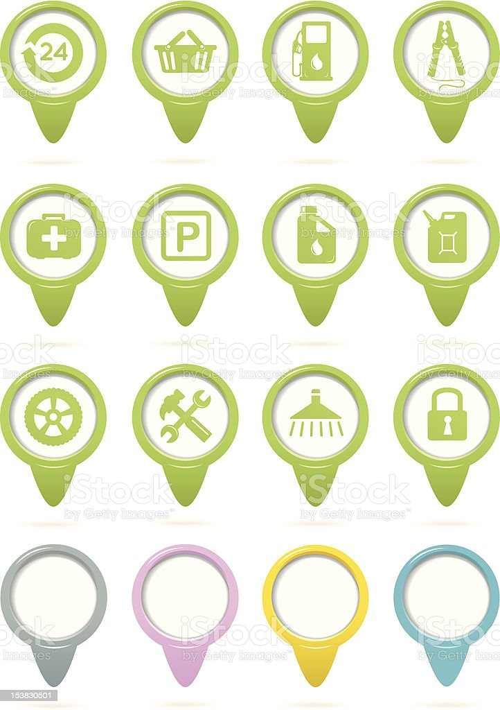 Gasoline station green pointers royalty-free stock vector art