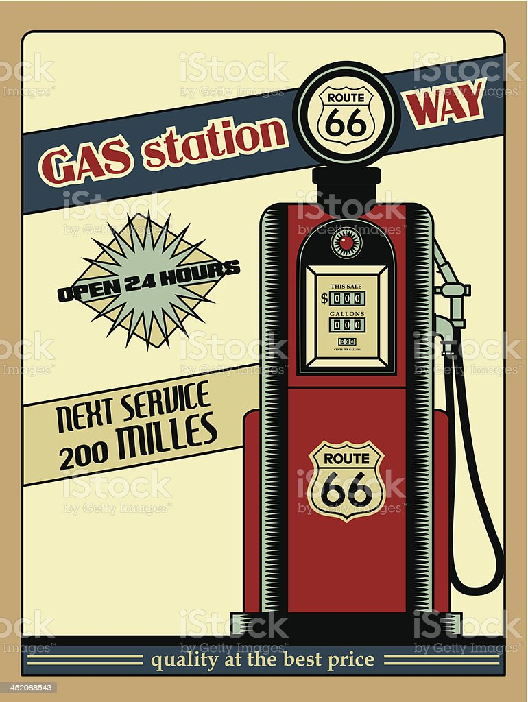 Gasolinera Ruta 66 vector art illustration