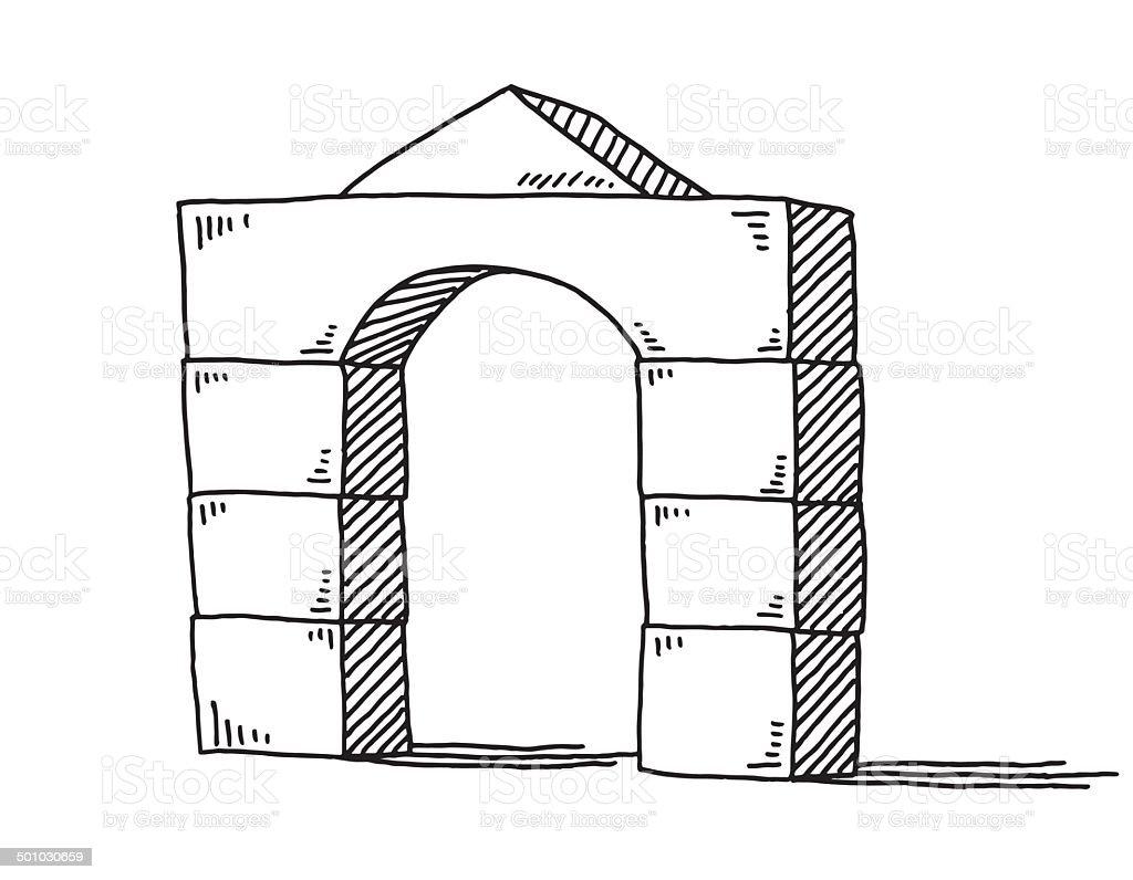 Gate Building Blocks Drawing royalty-free stock vector art