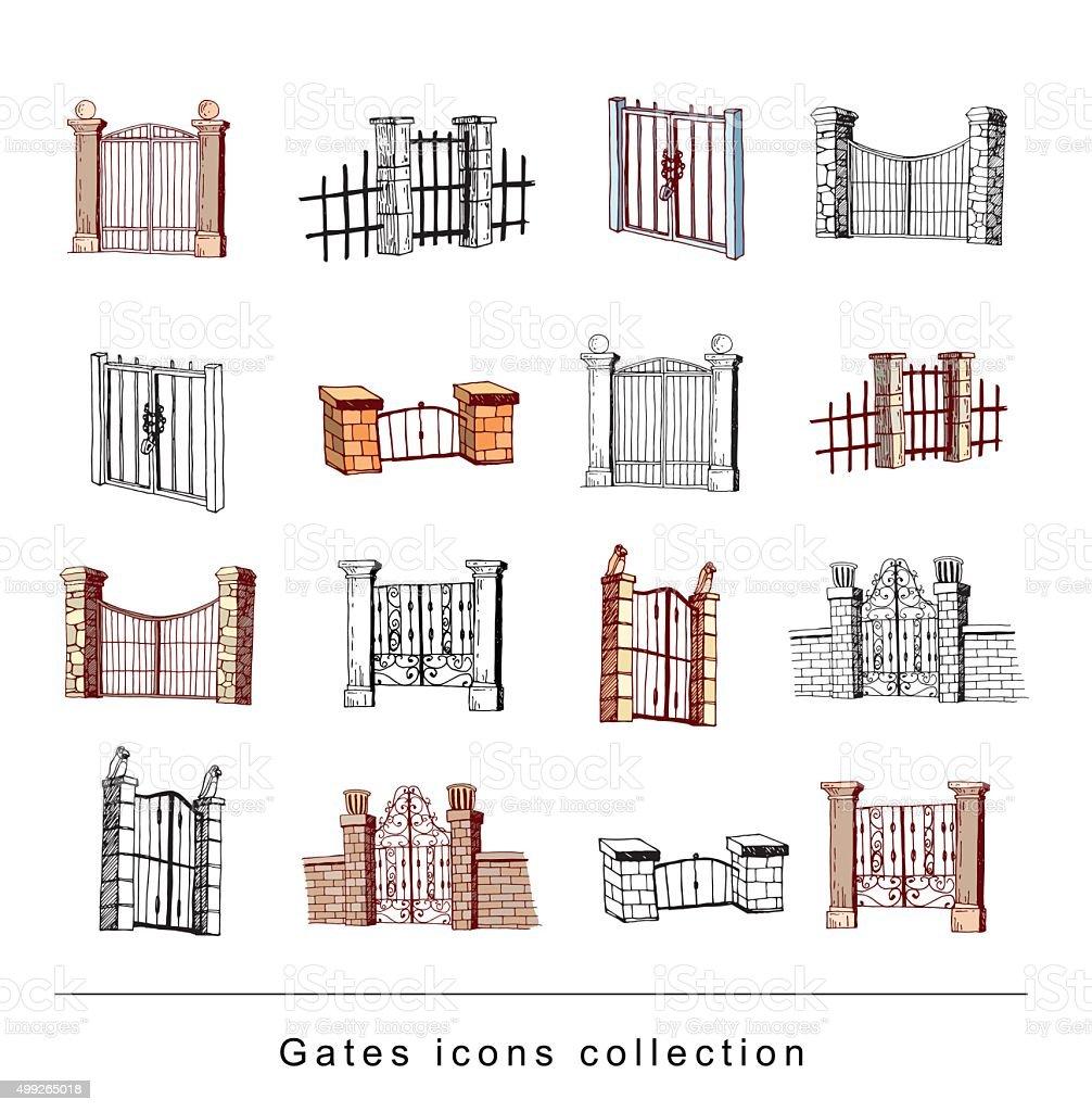 gate icon Set, vector illustration vector art illustration