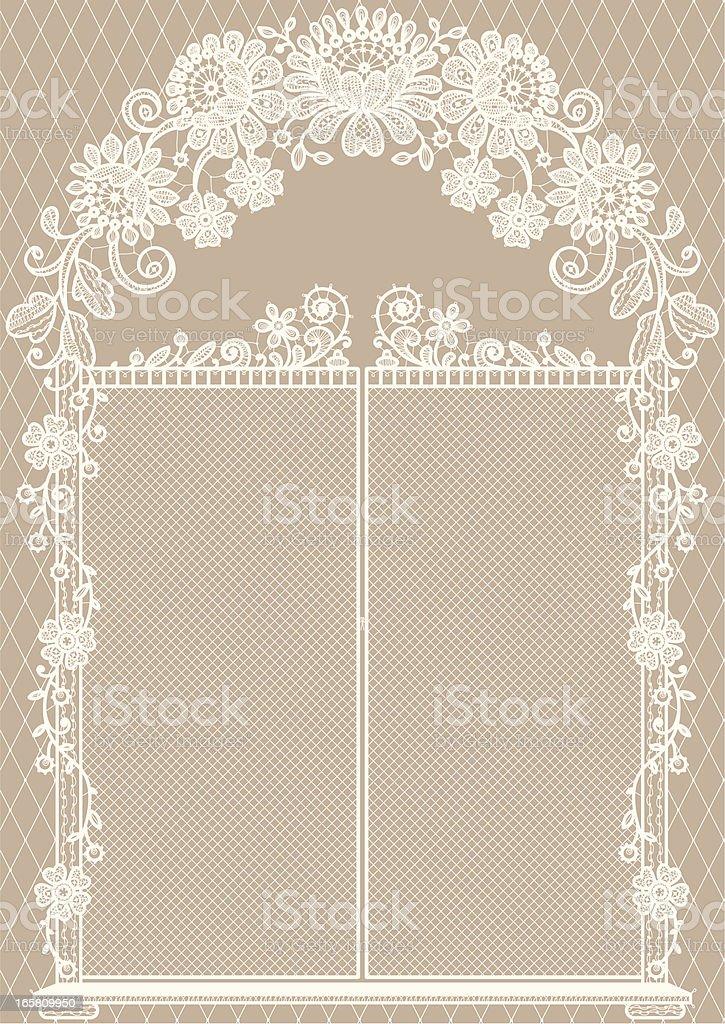 Gate. White Lace. Beige Background. vector art illustration