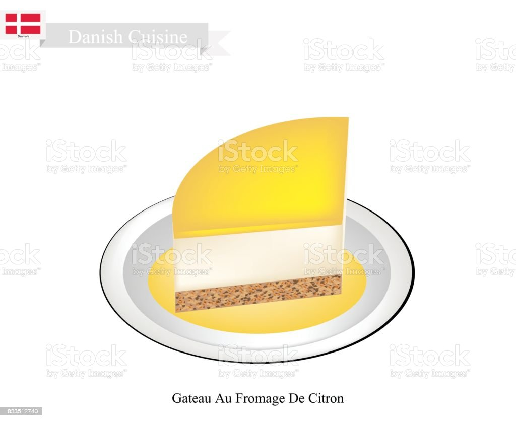 Gateau Au Fromage De Citron, A Popular Dessert in Denmark vector art illustration