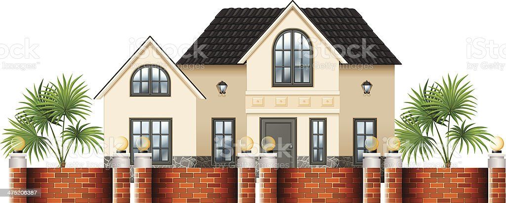 gated house royalty-free stock vector art