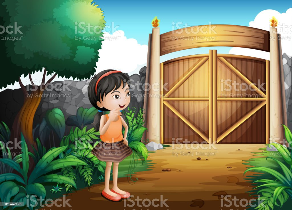 gated yard with a young girl royalty-free stock vector art