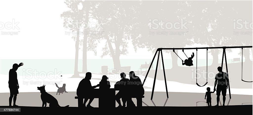 Gathering Outdoors vector art illustration