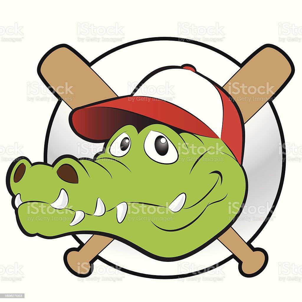 Cartoon alligator-crocodile baseball or softball mascot. Color is on...