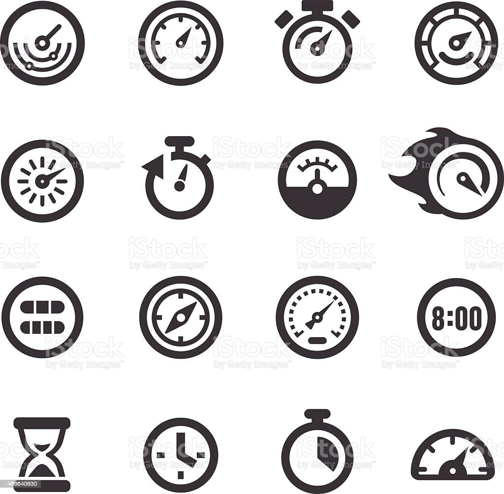 Gauge and Speedometer Icons - Acme Series vector art illustration