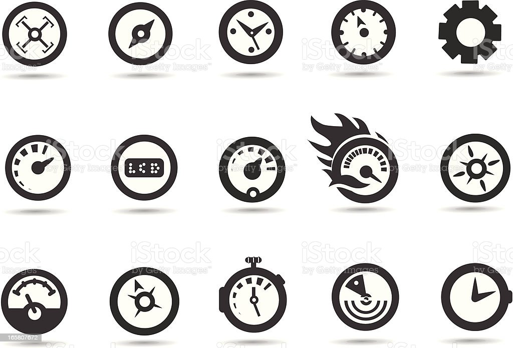Gauge and Speedometer Icons vector art illustration