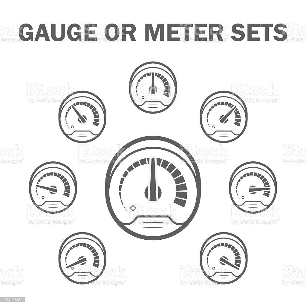 Gauge meter icons vector art illustration