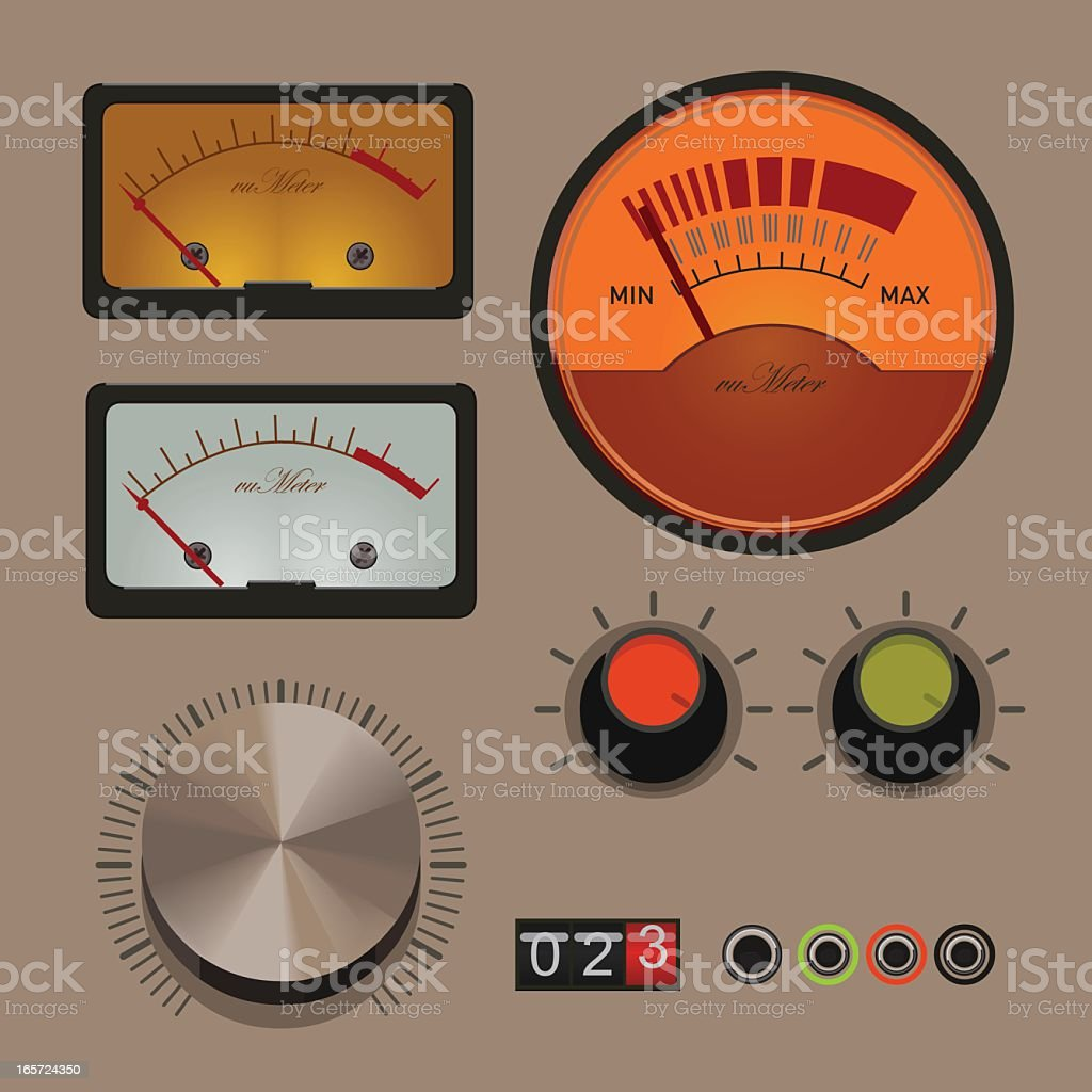 gauges and knobs vector art illustration