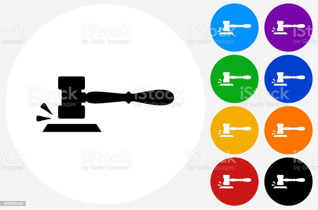 Gavel Icon on Flat Color Circle Buttons vector art illustration