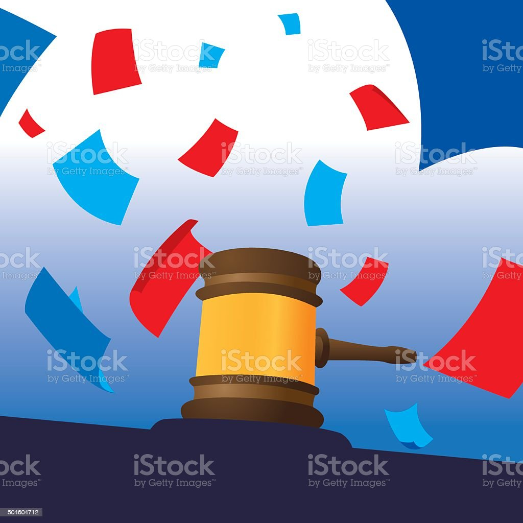 Gavel with Papers Red and Blue vector art illustration