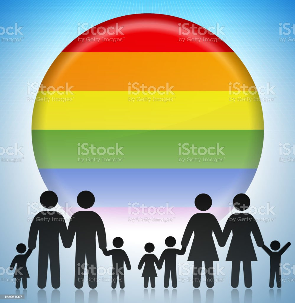 Gay Adoption Rights Family Concept Stick Figures royalty-free stock vector art