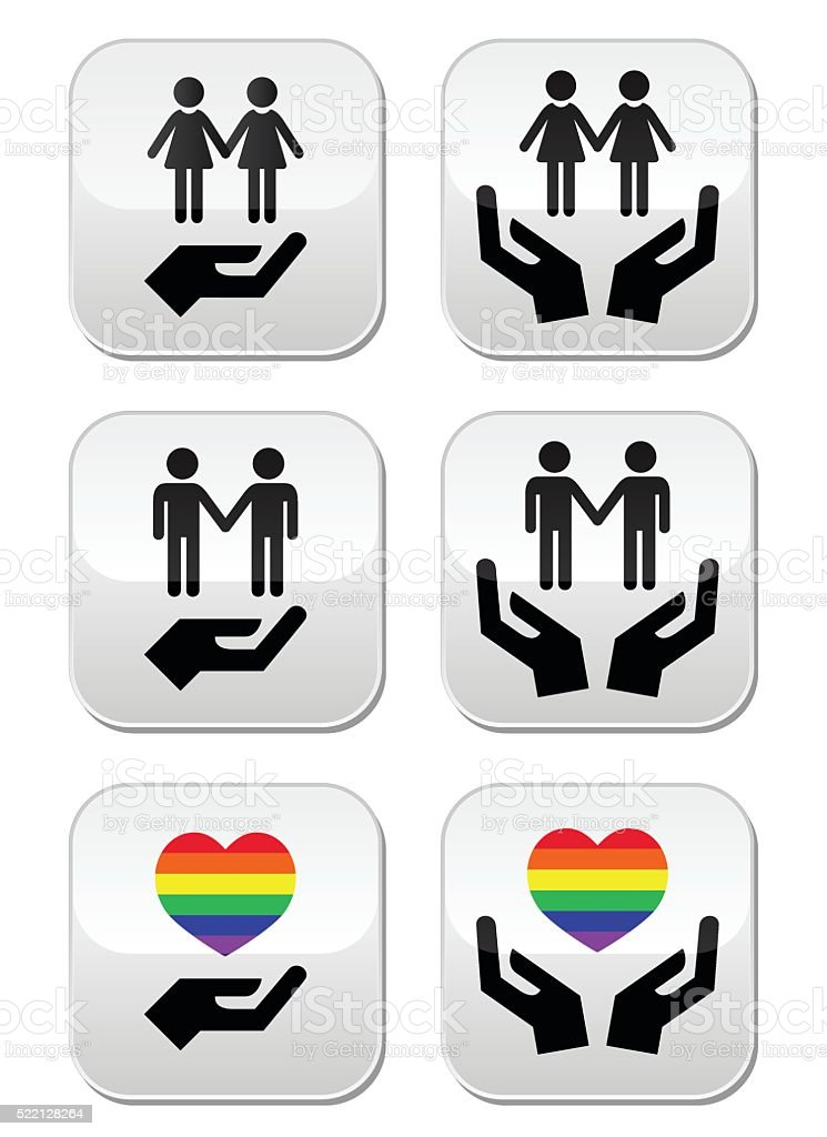 Gay and lesbian couples, rainbow flag with hands icons set vector art illustration