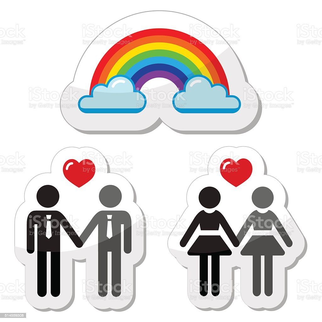 Gay and lesbian couples, rainbow vector icons set vector art illustration
