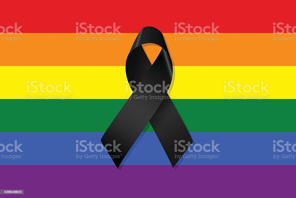Gay and lesbian flag with a black ribbon vector vector art illustration