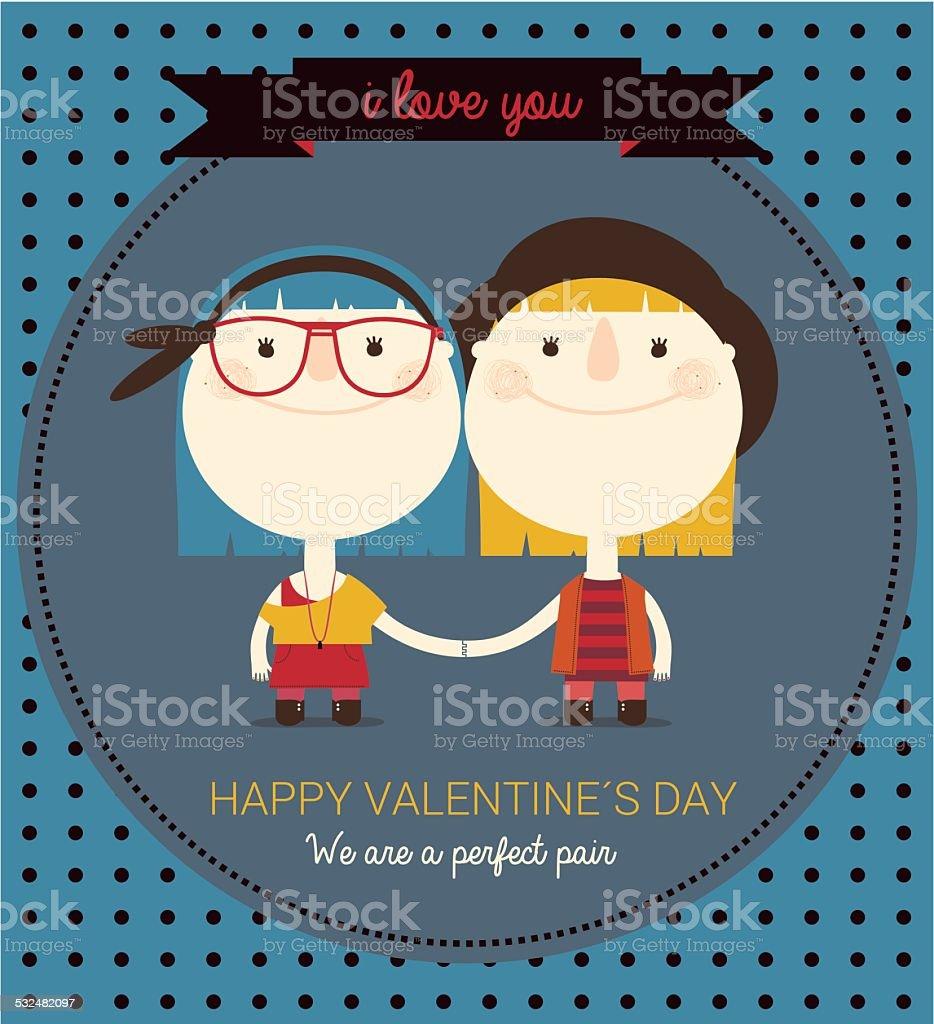 gay couple in love vector art illustration