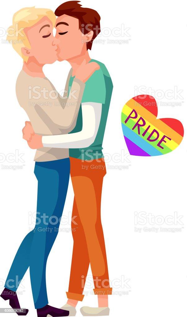 Gay couple kissing vector illustration vector art illustration