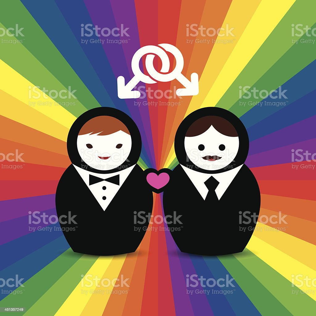 Gay Couple Married Doll royalty-free stock vector art