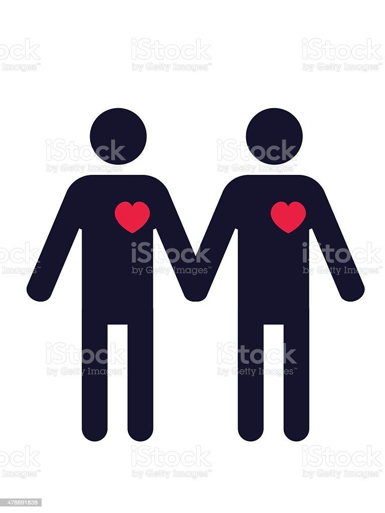Gay couple vector art illustration