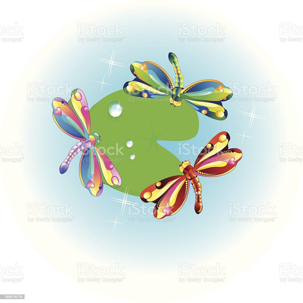 Gay dragon-flys over water. vector art illustration