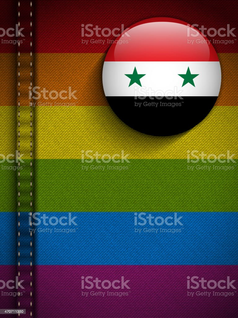 Gay Flag Button on Jeans Fabric Texture Syria vector art illustration