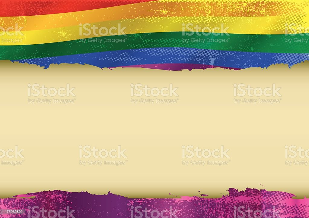 Gay horizontal scratched flag vector art illustration