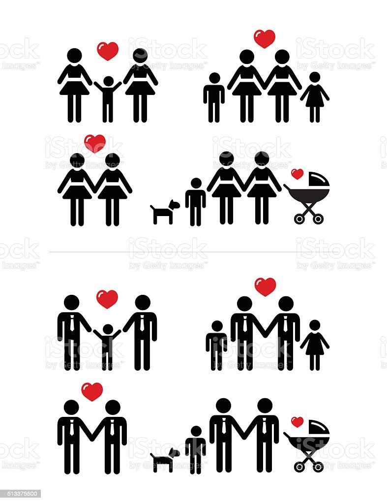 Gay, lesbian couples and family with children icons set vector art illustration